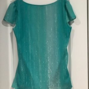 Teal green shirt with silver shimmer